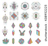 collection of geometric crystal ... | Shutterstock .eps vector #438952225