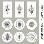 geometric crystal stickers and... | Shutterstock .eps vector #438952561