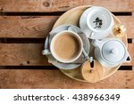 tea and coffee in morning on a... | Shutterstock . vector #438966349