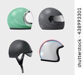 helmet head isolate design set... | Shutterstock .eps vector #438993301