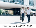two young blonde and black hair ... | Shutterstock . vector #439013185