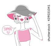 vector cute summer fashion girls   Shutterstock .eps vector #439031041