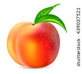 ripe whole peach fruit with... | Shutterstock .eps vector #439037521