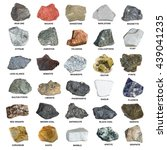 Small photo of Set of isolated minerals and stones. Iron ore, sandstone, apatite, quartz, bauxite, phosphorite, magnetite, gypsum, agate, asbestos, marble, corundum, kaolin, marlstone and others.