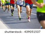 marathon runners with their...   Shutterstock . vector #439051537