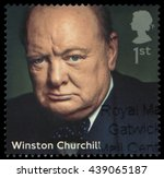 uk  2014  portrait of winston... | Shutterstock . vector #439065187