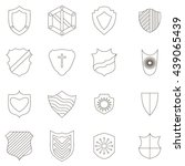 shield icons set  outline style | Shutterstock . vector #439065439