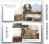 Set of annual report business templates for brochure, magazine, flyer or booklet. Polygonal background, blurred image, urban landscape, cityscape of Prague, modern triangular texture | Shutterstock vector #439075429
