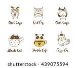 cute owls  cat and panda...   Shutterstock .eps vector #439075594