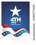 4th july stars ribbon blue... | Shutterstock .eps vector #439077439