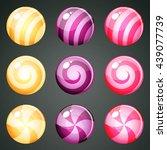 set of vanilla  purple and pink ... | Shutterstock .eps vector #439077739