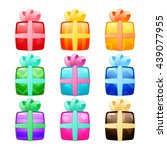 set of gift boxes with bow and... | Shutterstock .eps vector #439077955