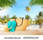 summer accessories on sandy... | Shutterstock . vector #439094239