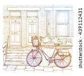 hand drawn sketch of bicycle on ... | Shutterstock .eps vector #439112431