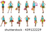woman with shopping bags... | Shutterstock . vector #439122229