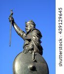 Small photo of King Alfred The Great statue erected in 1899 stands at the eastern end of the Broadway in Winchester Hampshire, England, UK