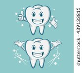 smiling tooth mascot teeth with ... | Shutterstock .eps vector #439133815