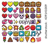 vector set of different emojis... | Shutterstock .eps vector #439141009