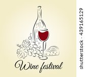 wine bottle  wine glass  grape... | Shutterstock .eps vector #439165129