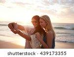 happy young women enjoying... | Shutterstock . vector #439173355
