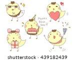 cute cartoon chicken set. funny ... | Shutterstock .eps vector #439182439