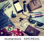set of travel accessory with... | Shutterstock . vector #439198141
