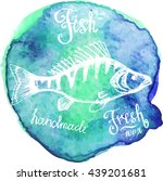 vector. fish sketch drawn on a... | Shutterstock .eps vector #439201681
