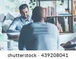 job interview. two young men in ... | Shutterstock . vector #439208041