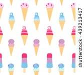 summer seamless pattern with... | Shutterstock .eps vector #439213417