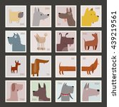 cute dog stamp collections. | Shutterstock .eps vector #439219561