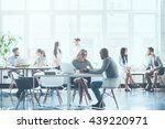 work in action. group of young... | Shutterstock . vector #439220971