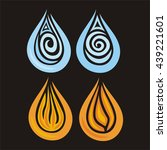 flames and water drops. vector... | Shutterstock .eps vector #439221601