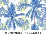 tropical jungle palm leaves ... | Shutterstock .eps vector #439233661