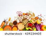 group of indian spices and... | Shutterstock . vector #439234405