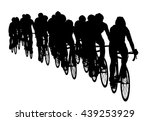Group Of Bicyclists In Race...