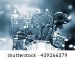 Cut Metal Car Engine Part  Blu...