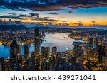 sunrise over victoria harbor as ...   Shutterstock . vector #439271041