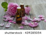 two vials with essential oil... | Shutterstock . vector #439285054