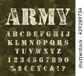 military stencial alphabet.... | Shutterstock .eps vector #439289734