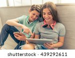 teenage boy and girl with... | Shutterstock . vector #439292611