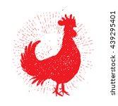 rooster red label. vintage... | Shutterstock . vector #439295401