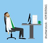 overworked and tired... | Shutterstock .eps vector #439305061