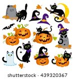 halloween kitty cats and funny... | Shutterstock . vector #439320367