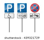 set of 3 road signs  isolated... | Shutterstock .eps vector #439321729