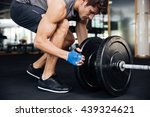 young handsome bodybuilder guy... | Shutterstock . vector #439324621