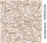 burlap bbq barbecue day doodle... | Shutterstock .eps vector #439331104