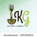 kitchen garden logo. fork with... | Shutterstock .eps vector #439339825