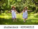 two beautiful sisters happily... | Shutterstock . vector #439340515