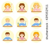 schoolchild avatar flat vector... | Shutterstock .eps vector #439352911