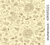 pizza seamless pattern. useful... | Shutterstock .eps vector #439355221